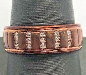 Men's 14K Sterling Silver 925 Bronze Tone Vertical CZ Brushed Grooved Band Ring
