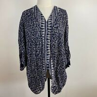Lee Cooper Women's Blue Cream Summer Sequin Kimono Beach Pool Jacket Size XL