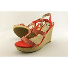 G By Guess Elegace Women US 7.5 Red Wedge Sandal Blemish  19420