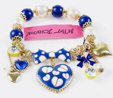 "Betsey Johnson ""Pretty Polka Dot"" Bracelet Blue Heart Charm Beaded Stretch"