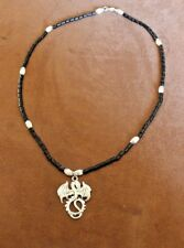 Black Heishi Bead & silver Necklace w Dragon Hand Made