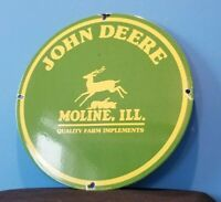 VINTAGE JOHN DEERE PORCELAIN GAS FARM IMPLEMENTS SERVICE SALE TRACTOR SIGN