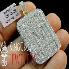 2 Tone 10K Yellow Gold Sterling Silver Simu Diamond TMT Money Team Pendant Charm