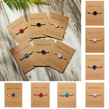 Make a Wish Handmade Natural Stone Charm Bracelet Bangle Friendship Card Jewelry