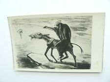 Real Photo Postcard showing hooded Politician on donkey temping it to go forward