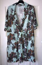 ZARA SEA GREEN FLORAL PRINT TEXTURED TUNIC DRESS SIZE L BNWT