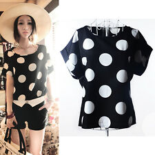 Fashion Women'Casual Short Sleeve Summer Chiffon T-shirt Blouse Loose Tops L