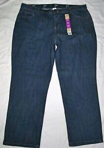 New Just My Size JMS Straight Leg Dark Blue Slimming Jeans Womens Plus Size 26