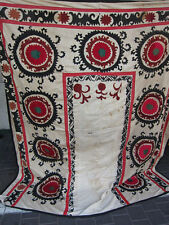 ANTIQUE UZBEK SILK HAND MADE- EMBROIDERED SUZANI 212x191-cm / 83.4x75.1-inches