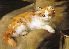 Grußkarte: Marie-Yvonne Laur: Katze - Ausschnitt aus Junge Frau liest Brief