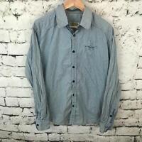 No Excess Mens Sz L Shirt Blue Checkered Plaid Long Sleeve Casual Button-Up