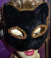 Black Bling Cat Women or Man Mask Adult Size Costume Tie on Halloween NIP