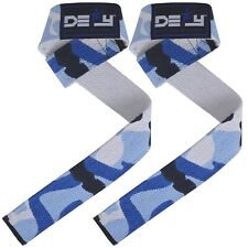 WEIGHT LIFTING TRAINING BAR STRAPS HAND WRIST GYM  SUPPORT CROSSFIT BLUE CAMO