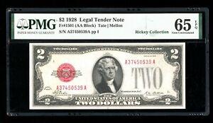 DBR 1928 $2 Legal Gem Fr. 1501 PMG 65 EPQ Serial A37450539A