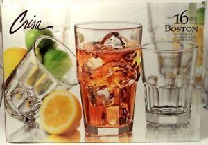NEW! 15 CRISA BOSTON Libbey Glasses + 1 FREE 7 - 16 oz COOLERS & 8 - 9 oz ROCKS