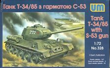 1/72 Wwii Soviet Red Army T-34/85Heavy Tank w/S-53 Gun Um328 Models k