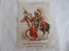 Antique Cigarette Silk Sioux War Chief in Full Regalia Nebo #7 vintage Vgc