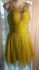 JEWELED Chartreuse DRESS Gown PROM Wedding FORMAL DANCE Bridesmaid PARTY M NEW