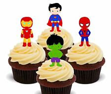 Superhero Edible Cup Cake Toppers, Fairy Decorations Superman Spiderman Hulk