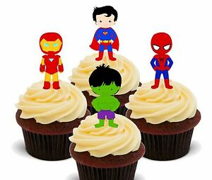 Superhero Edible Cup Cake Toppers, Fairy Decorations Superman Spiderman Hulk