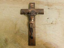 """Vintage Parsons 14"""" Crucifix Cross Funeral Casket Wall Metal Bronze Colour"""