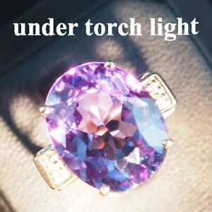 CHANGE BLUE PURPLE SPINEL RING 15.20 CT. 925 STERLING SILVER ROSE GOLD SZ 6.5