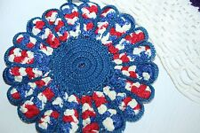 Vintage Scalloped Pot Holder Doily Red White Blue kitschy Retro Rooster 4th july