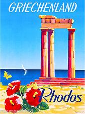 Greece Greek Isle Rhodos Europe European Vintage Travel Advertisement Poster