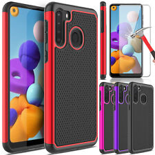 For Samsung Galaxy A21 Phone Case Hybrid Silicone Cover/ Glass Screen Protector