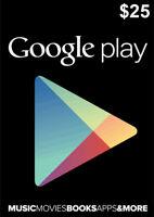 Google Play Card 25 Dollar - $25 USD Google PLAY Store Gift CARD - Android Key