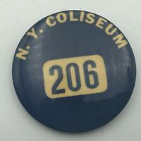 "Rare Vintage NY COLISEUM Employee ID Badge 2-1/4"" Button Pin Pinback Vtg  R7"