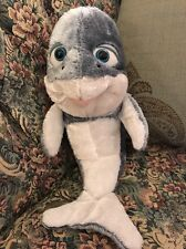 "Plush Stuffed Gray White Whale 11"" Dolphin The Petting Zoo So Soft Big Eyes #G9"