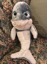 "Plush Stuffed Gray White Whale 11"" Dolphin The Petting Zoo So Soft Big Eyes #G9"