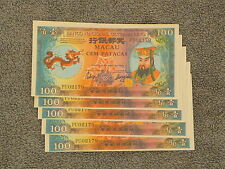 Macau 100 Patacas Notes 1984 (5) notes (RARE) Unc (Chinese Hell Money)