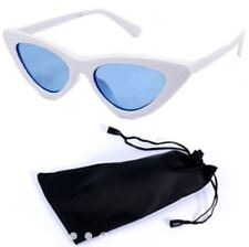 Cat Eye Sunglasses Black Frame Black Lens Shades with Pouch - WHITE/BLUE