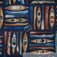 BonEful Fabric FQ Cotton Quilt Navy Blue Brown Wood Canoe Paddle Kayak Boy Girl