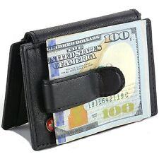 Mens Leather Money Clip Wallet Bi Fold Card Case Front Pocket ID Window 6 Cards