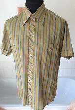 """original vintage 1960's Man at Ease by Tootal s/sleeve shirt khaki striped M-40"""""""