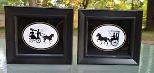 PAIR (2) Vintage Framed Silhouette Prints on Glass Victorian Horse and Buggy