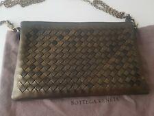New Bottega Veneta Intrecciato Crossbody Clutch Bag Dark Gold RRP 1000€