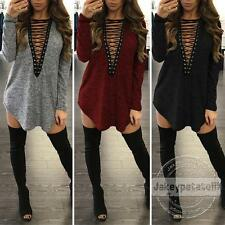 AU Women Choker V Neck Casual Loose Long Tops T-Shirt Lace-up Plunge Mini Dress