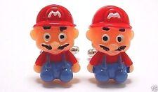 Handmade Mario Resin Cufflinks Silver Plated Toggles, W/Gift Box!