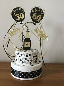 Cake Topper Decoration Twins Joint Champagne Bottle All colours Ages Names