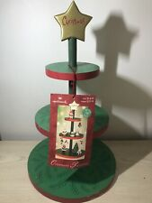 Hallmark Vintage Miniature Ornaments Christmas Tree Display Round Wooden