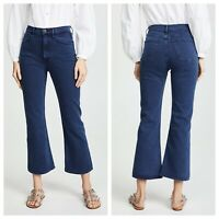 3x1 NYC W5 Womens 28 Empire Crop Flare Jeans Mineral Blue Wash NEW