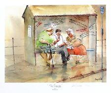 """Des Brophy """"le selon"""" retraités bus stop sgd ltd ed taille: 33cm x 40cm neuf"""