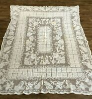 "Vintage Lace Tablecloth 55 x 68"" rectangle dining floral geometric handmade"