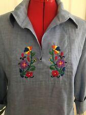 Womens Vintage Embroidered Shirt Top Blouse Flowers Hippie Boho Denim Like XL