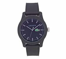 LACOSTE 2010766 GENTS BLACK SILICONE 43MM RESIN CASE MINERAL GLASS QUARTZ WATCH