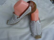 Rieker Antistress Loafer White Perforated Leather/Brown Leather Shoes Sz 40/US9